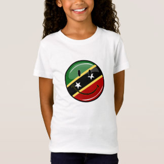 Glossy Round Smiling St. Kitts and Nevis Flag T-Shirt
