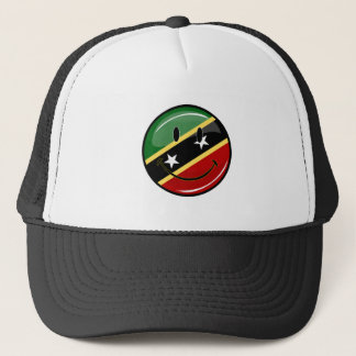 Glossy Round Smiling St. Kitts and Nevis Flag Trucker Hat