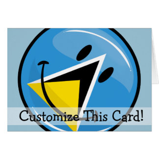 Glossy Round Smiling St. Lucia Flag Card