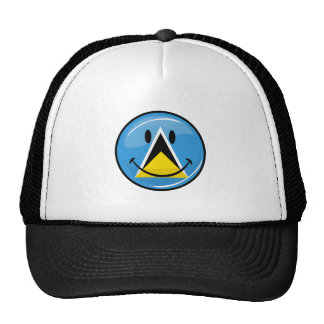 Glossy Round Smiling St. Lucia Flag Hats