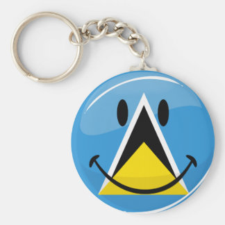 Glossy Round Smiling St. Lucia Flag Keychain