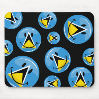 Glossy Round Smiling St. Lucia Flag Mousepads
