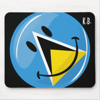 Glossy Round Smiling St. Lucia Flag Mousepad