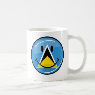Glossy Round Smiling St. Lucia Flag Mug