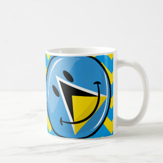 Glossy Round Smiling St. Lucia Flag Mugs