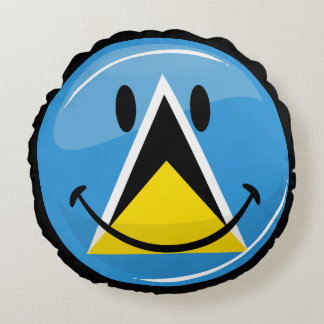 Glossy Round Smiling St. Lucia Flag Round Pillow