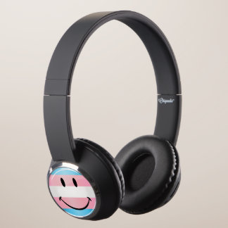 Glossy Round Smiling Transgender Flag Headphones