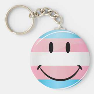Glossy Round Smiling Transgender Flag Keychain