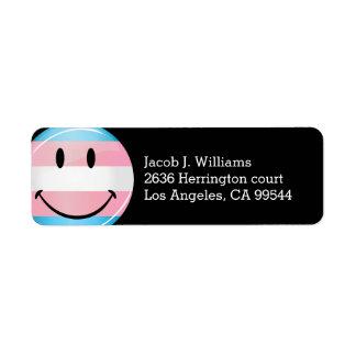 Glossy Round Smiling Transgender Flag Label