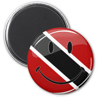 Glossy Round Smiling Trinidad and Tobago Flag 2 Inch Round Magnet