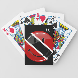 Glossy Round Smiling Trinidad and Tobago Flag Bicycle Playing Cards