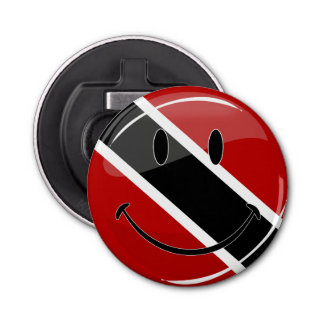 Glossy Round Smiling Trinidad and Tobago Flag Bottle Opener