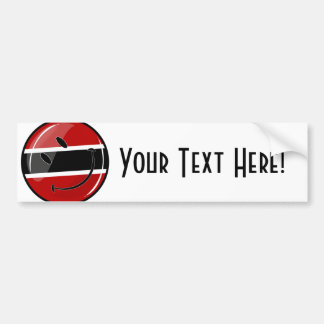 Glossy Round Smiling Trinidad and Tobago Flag Car Bumper Sticker
