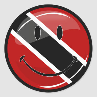 Glossy Round Smiling Trinidad and Tobago Flag Classic Round Sticker