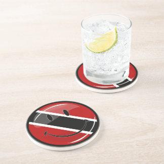 Glossy Round Smiling Trinidad and Tobago Flag Drink Coaster