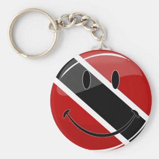 Glossy Round Smiling Trinidad and Tobago Flag Basic Round Button Keychain