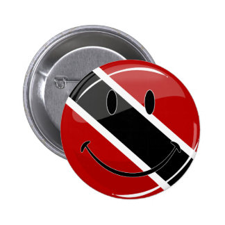 Glossy Round Smiling Trinidad and Tobago Flag Pinback Button