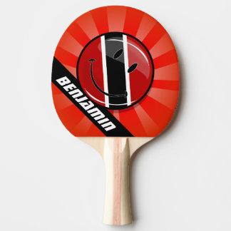 Glossy Round Smiling Trinidad and Tobago Flag Ping Pong Paddle