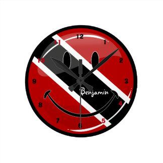 Glossy Round Smiling Trinidad and Tobago Flag Round Clock