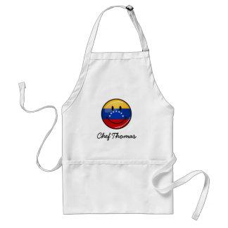 Glossy Round Smiling Venezuelan Flag Adult Apron