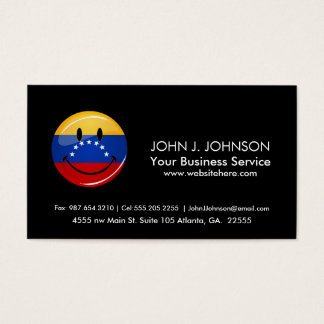 Glossy Round Smiling Venezuelan Flag Business Card