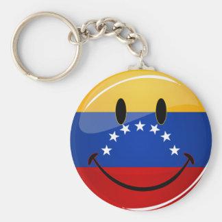 Glossy Round Smiling Venezuelan Flag Keychain