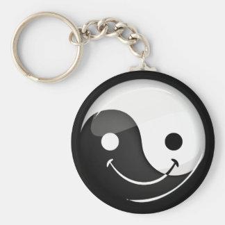 Glossy Round Smiling Yin Yang Symbol Keychain