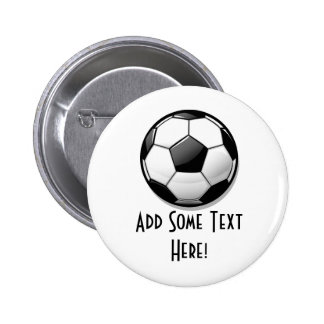 Glossy Round Soccer Ball Pinback Button