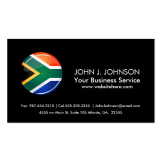 Glossy Round South African Flag Business Card