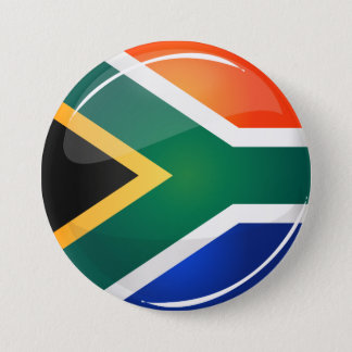 Glossy Round South African Flag Button