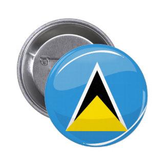 Glossy Round St. Lucia Flag 2 Inch Round Button