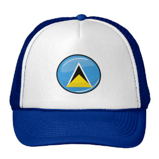 Glossy Round St. Lucia Flag Mesh Hats