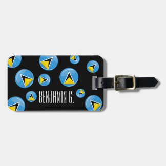 Glossy Round St. Lucia Flag Travel Bag Tag