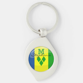 Glossy Round St. Vincent and Grenadines Flag Silver-Colored Swirl Metal Keychain
