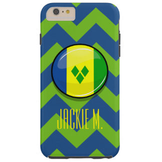 Glossy Round St. Vincent and Grenadines Flag Tough iPhone 6 Plus Case