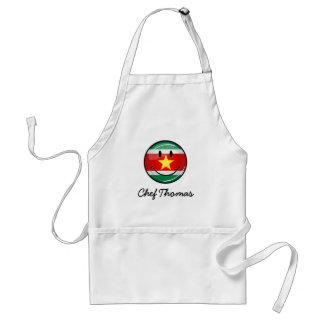Glossy Round Suriname Flag Standard Apron