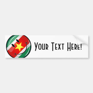 Glossy Round Suriname Flag Bumper Sticker