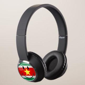 Glossy Round Suriname Flag Headphones