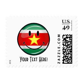 Glossy Round Suriname Flag Postage Stamp
