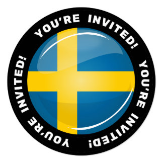 Glossy Round Swedish Flag Card