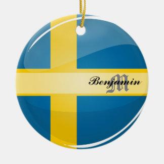 Glossy Round Swedish Flag Ceramic Ornament