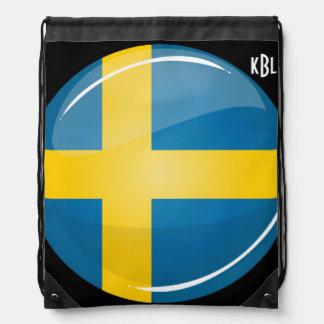 Glossy Round Swedish Flag Drawstring Bag