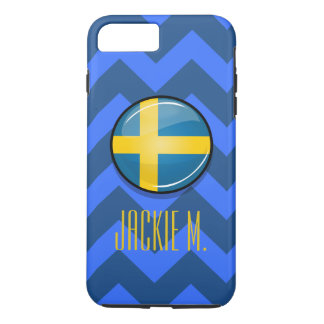 Glossy Round Swedish Flag iPhone 8 Plus/7 Plus Case
