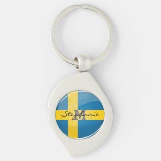 Glossy Round Swedish Flag Keychain