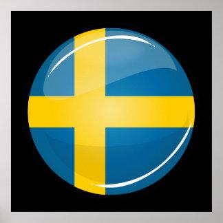 Glossy Round Swedish Flag Poster