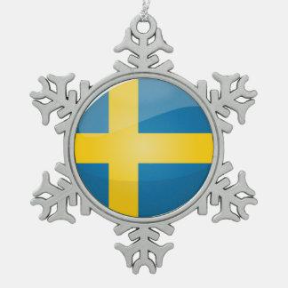 Glossy Round Swedish Flag Snowflake Pewter Christmas Ornament