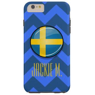 Glossy Round Swedish Flag Tough iPhone 6 Plus Case