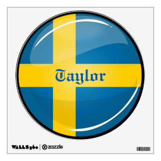 Glossy Round Swedish Flag Wall Sticker