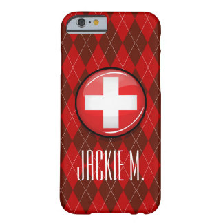Glossy Round Swiss Flag Barely There iPhone 6 Case