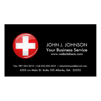 Glossy Round Swiss Flag Business Card
